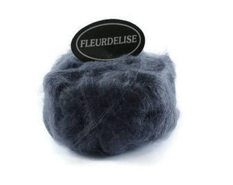 Knitting yarn. Super kid mohair yarn made in Italy. Fleurdelise  Fancy Yarn Grey DIY