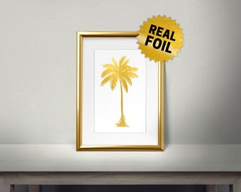 Palm Tree, Real Gold Foil Print, Gold Wall Art, Leaves Wall Framed, Golden Leaf, Living Room Decor, Beach Wall Decor, Palm Leaf