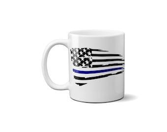 Thin Blue Line American Flag Coffee Mug , Police Officer Gift, Law Enforcement, Coffee Mug, America Flag