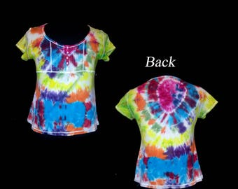 Vintage Hand Tie-Dyed VS Tee Shop Ladies Embellished T-Shirt - Size XL