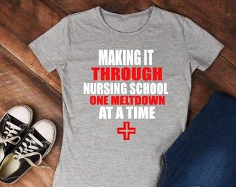 red cross nursing school tshirt one meltdown at a time cross women's tshirt vinyl shirt