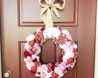 Valentine's Day Pom Pom Wreath
