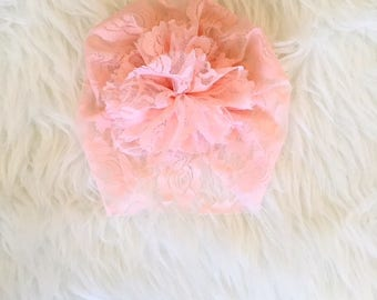 Tiny Turban- Peachy Pink Lace