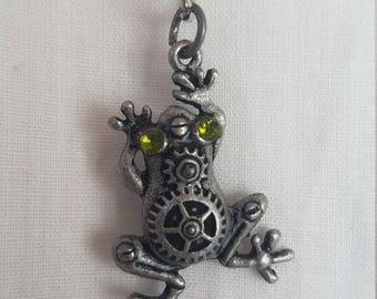 Steampunk Frog Charm Necklace