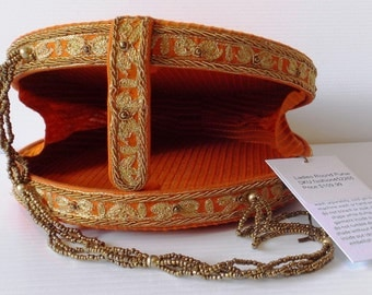 Handmade Orange Erri Embroidered Chosha Silk Ladies Purse