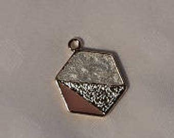 Hexagon pendant with pearl, gold and blush pink colour detail - charm - jewellery - geometric