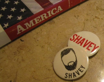 """Set of 2 Vintage Message Buttons """"Shavey"""" circa 1960s Statement Message Protest Pins"""
