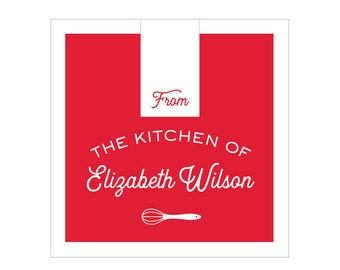 """40 2"""" Square Custom """"From the Kitchen of"""" Stickers {in 9 colors options}"""
