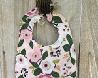 Pink and Cream Floral Fringe Bib