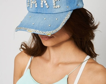 Denim Hat With Rhinestone Diamante Detail