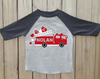 Valentine fire truck shirt, Boys valentine shirt, valentines day shirt, kids valentine shirt, valentine fire truck, valentines shirt