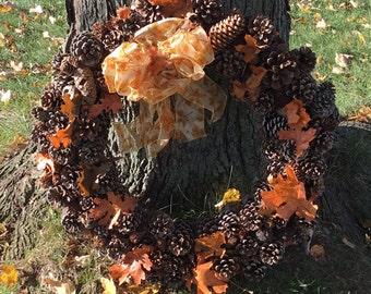 Falling Leaves Autumn Pine Cone Wreath