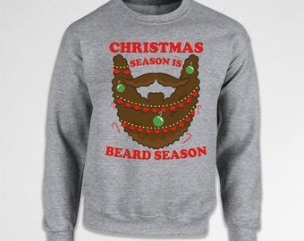 Funny Beard Gifts For Men Christmas Presents Xmas Gifts For Holiday Pullover Christmas Jumper Xmas Clothing X-Mas Crewneck Hoodie TEP-519