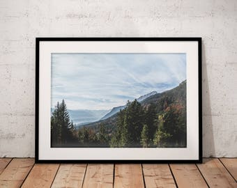 Mountain Print,  Green Forest, Alps Digital Print, Autumn Printable, Nature Photography, Home Decor, Natural Landscape Wall Art, Cloudy Sky