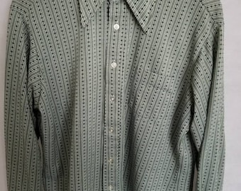 Awesome Men's Vintage Rockabilly, Long Sleeve, Green & White, Polyester Shirt XL