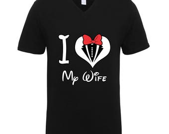 I Love My Wife Mickey Mouse Tuxedo Shirts Adult Unisex Men Size V Neck Best Seller T-Shirts Couple Goals Gifts