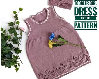 "Knitting Pattern - ""Leaves"" Toddler Girl Dress (1-4 years)"