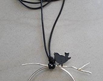 bird on branch Handmade necklace of metal nickel silver  and black leather cord