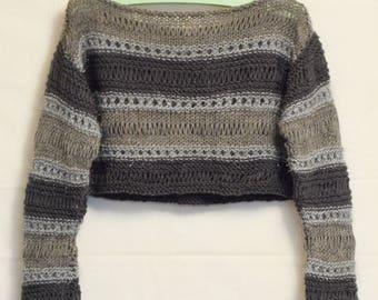 Silver sweater handmade Grey jumper Knitwear gray wool bolero