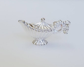 Fluted Teapot Charm Pendant in .925 Sterling Silver