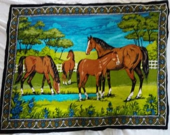 Vintage Horse Tapestry Horses in a field Wall Hanging