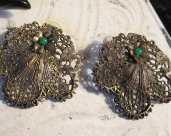 "Vintage brass filligree PIERCED earrings with green cabachon embellishment (2"" across!)"