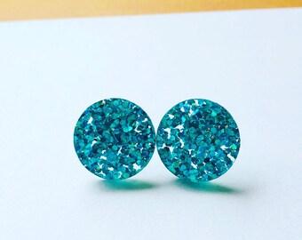 Mermaid Blue Glitter Acrylic Earrings