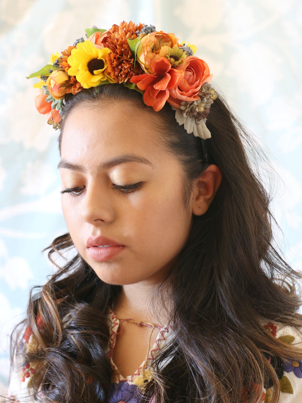 Hair accessories flower crown silk flower crown crown headband frida kahlo crown dia de izmirmasajfo