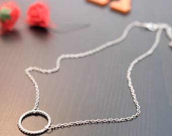 Beautiful Modern Silver Ring Pendant Necklace