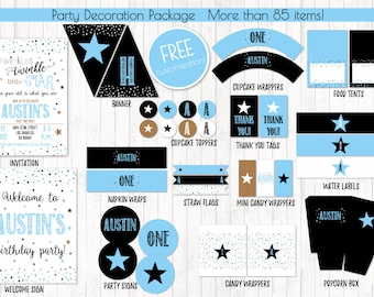 Twinkle Twinkle Little Star, Boy Birthday Party Printables, Little Star Boy Birthday, Little Star Baby Shower, Digital Files, Customized