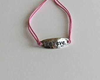 Adjustable Believe Bracelet Silver with Pink  Cotton Cord