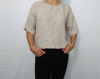 Womens linen  tshirts, grey linen top Round Neck loose T-shirt short sleeves Linen Shirt,natural Blouse for heat,casual Linen women clothes