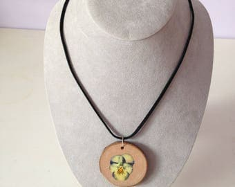 Pansy on Wood-slice Necklace
