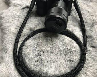 Handmade Camerastrap black - worldwide shipping - Shoulderstrap - Camstrap - Rope - fotostrap Fuji Olympus - Camerarope - lieblingsstrap