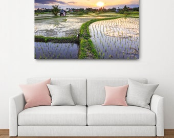Bali Sunset Canvas Print // Ubud Large Canvas Wrap, Indonesia Landscape, Rice Paddy Nature Photography, Colorful Asia Decor, Purple Wall Art