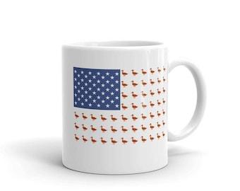 Duck Mug USA flag US funny goose duck gift mug creative duck coffee mug tea mug gift for her, gift for him, goose mug