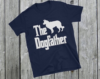 The Dogfather t-shirt, Border Collie silhouette, funny dog gift, The Godfather parody, dog lover, dog gift, Short-Sleeve Unisex T-Shirt