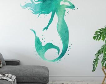 Mermaid Wall Decal   Ocean Mermaid Wall Art Watercolors   Bedroom Wall  Decor   Mermaid Vinyl