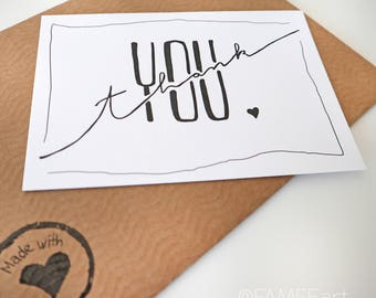 "Handlettering, postcard, ink ""Thank you"", Interior, wall decoration, typography, map, thank you, thank you"