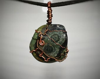Kambaba Jasper Pendant - Wire Wrapped Jewelry - Green Shades - Layered Orb Formations - Double Sided Necklace - Handmade