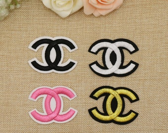 patch cc chanel black white gold golden pink