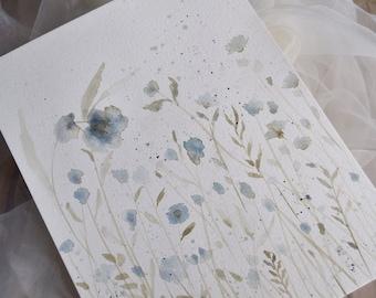 Original painting of blue flowers