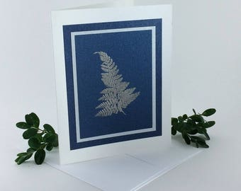 Silver fern on dark blue no. 2 embossed blank card, individually handmade: A2, winter, SKU BLA21011