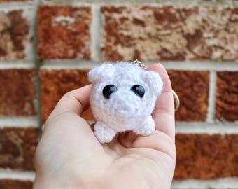 Plush Amigurumi Albino Pug Keychain