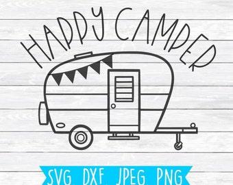 Happy Camper Cute SVG DXF PNG Cut File For Silhouette Cricut Camping Cutting Shirt