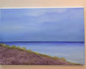 landscape painting, Original oil on canvas painting, Heather and Sea View, wall art, abstract art, 90 x 60 cm