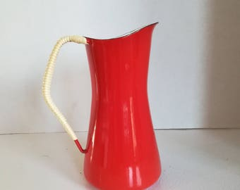 PITCHER has cream enamel DENMARK ihk vintage 1970's
