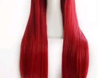 Customizable - DARK RED -  long straight Wig w/ bangs - scene emo cosplay anime punk lolita mermaid hair styles Wig -