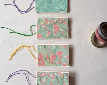 Hand made Gift tag-cards made with hand marbled paper- Set of 4