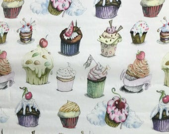 Filled with cream cupcake print 30D Polyester Poly Silky Patterned Chiffon Fabric Material For Dress Cloth Skirt 30D-33063 By The Yard